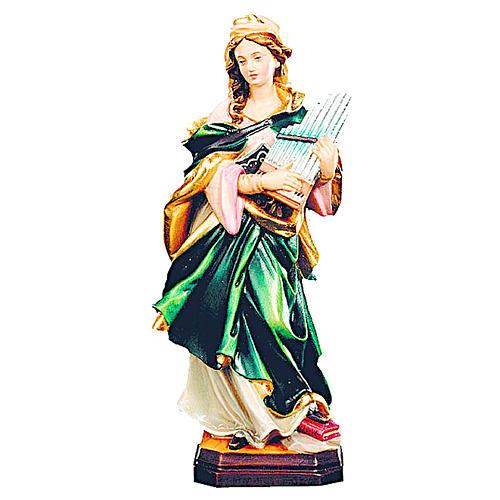 Santa Cecilia in legno colorato con strumento musicale 1