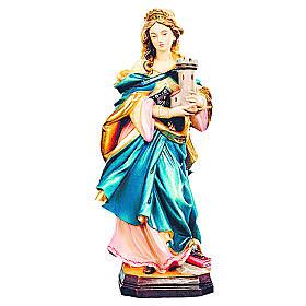 Statua Santa Barbara con veste blu legno dipinto s1