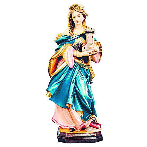 Statua Santa Barbara con veste blu legno dipinto 1