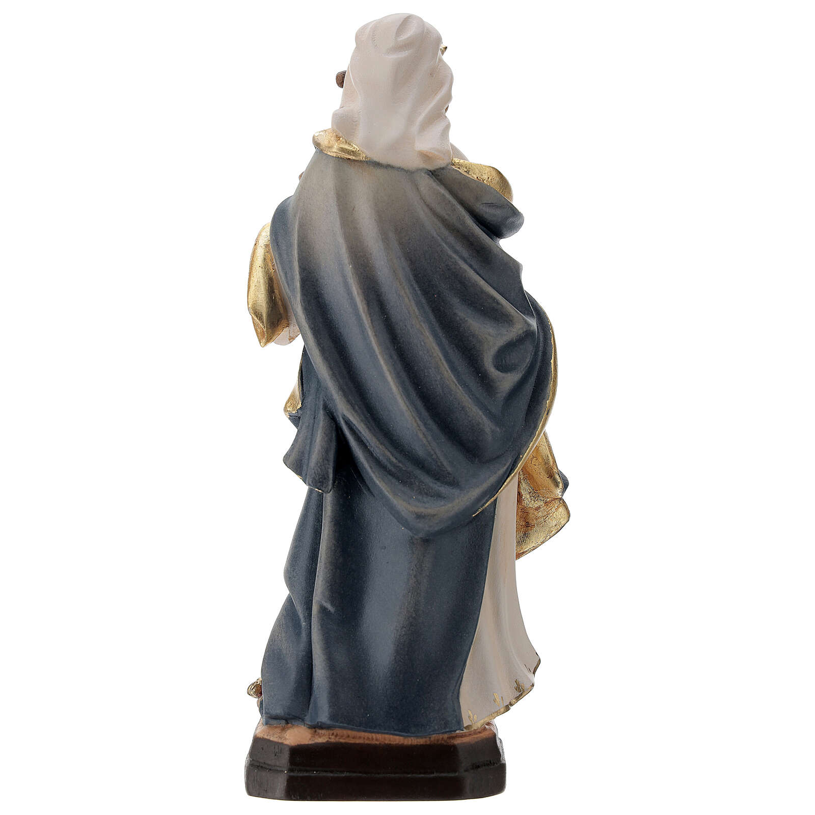 Saint Barbara statue with blue dress in painted wood 4