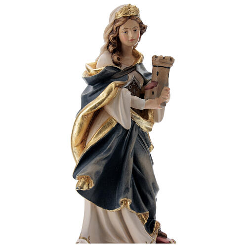 Saint Barbara statue with blue dress in painted wood 2