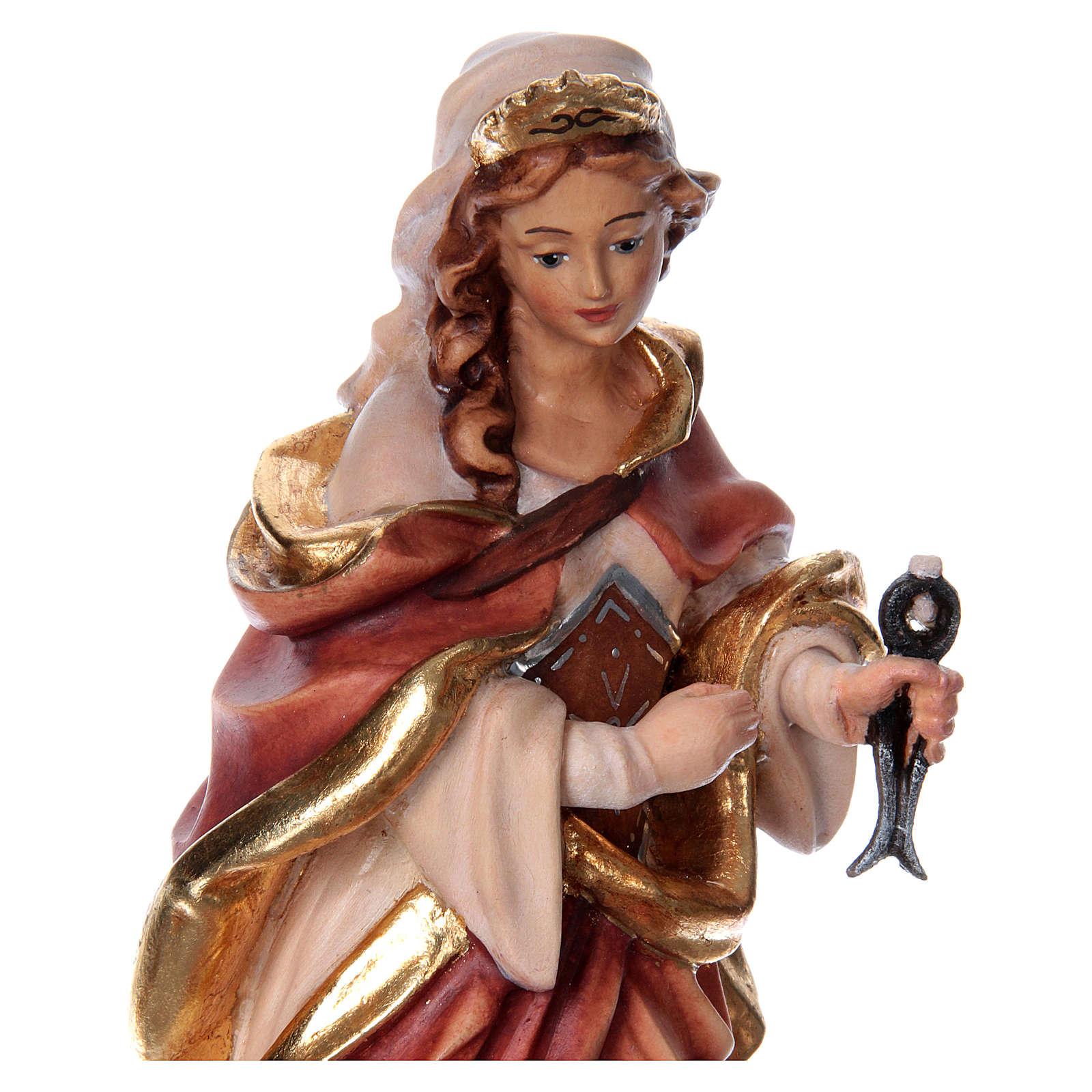 Santa Apollonia con tenaglia in mano legno dipinto 4