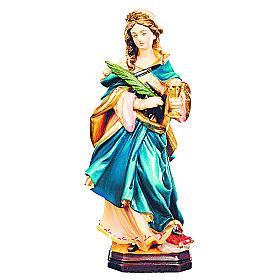 Statua di Santa Ottilia in legno dipinto ramo e calice s1