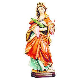 Estatua de Santa Úrsula de madera pintada, con vestido rojo y rama verde s1