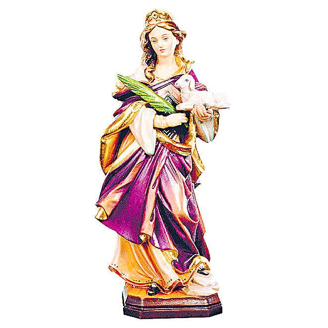 Estatua Santa Inés de madera pintada con vestido con matices de color 4