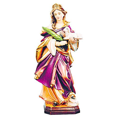 Estatua Santa Inés de madera pintada con vestido con matices de color 1