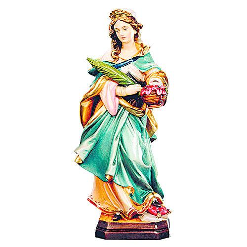 Sainte Dorothée en bois coloré robe bleue fleurs rouges 1