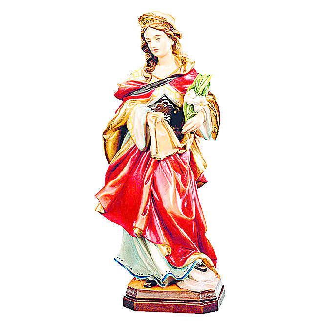Statue de Sainte Véronique en bois avec robe rouge et fleurs blanches 4