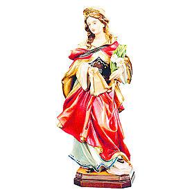 Statue de Sainte Véronique en bois avec robe rouge et fleurs blanches s1