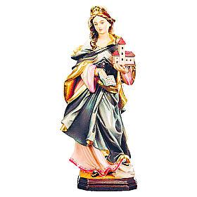 Statues en bois peint: Sainte Edwige bois coloré maison et livre