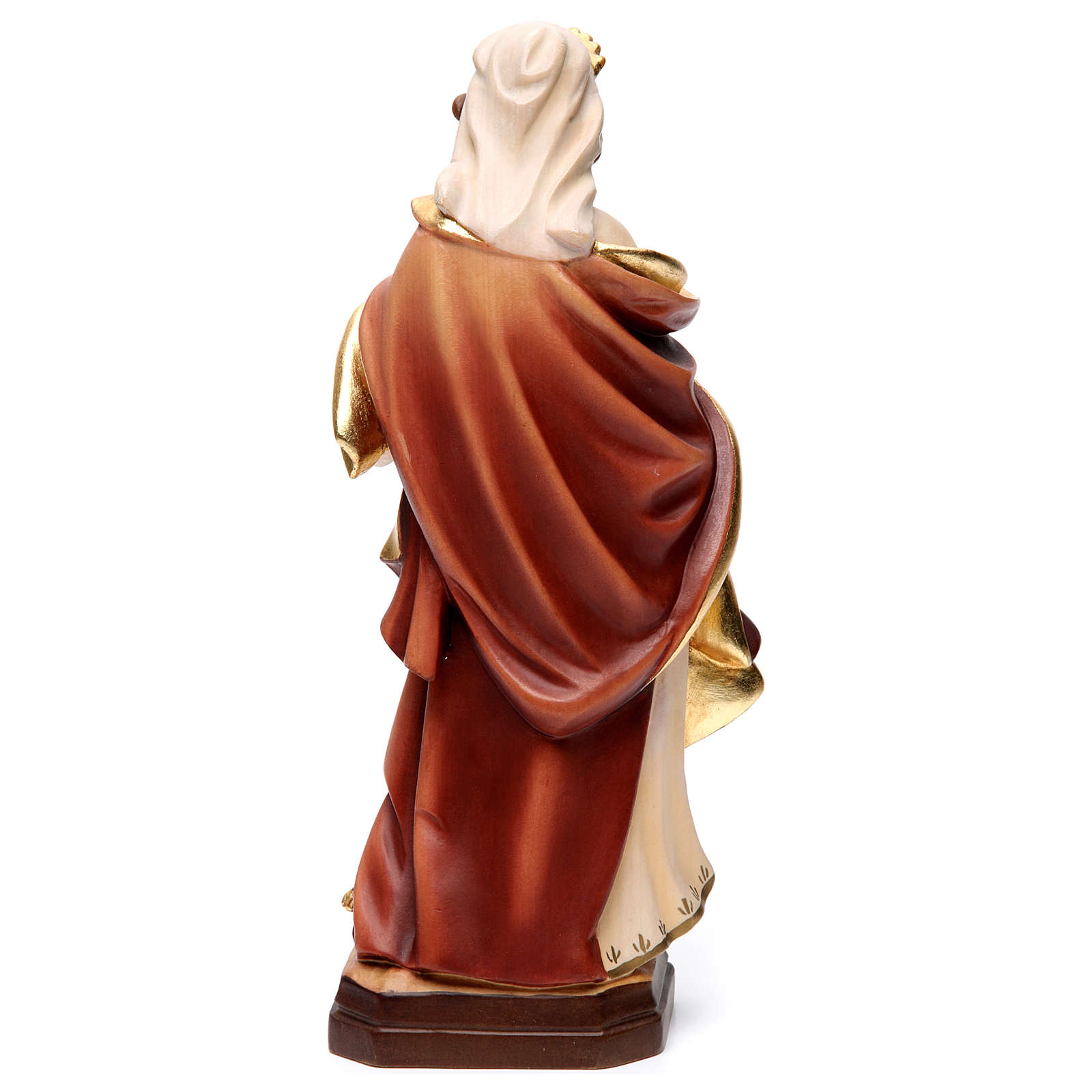 Statue of Mary Magdalene in painted wood with red dress and pitcher 4