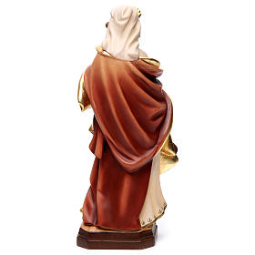 Statue of Mary Magdalene in painted wood with red dress and pitcher s4