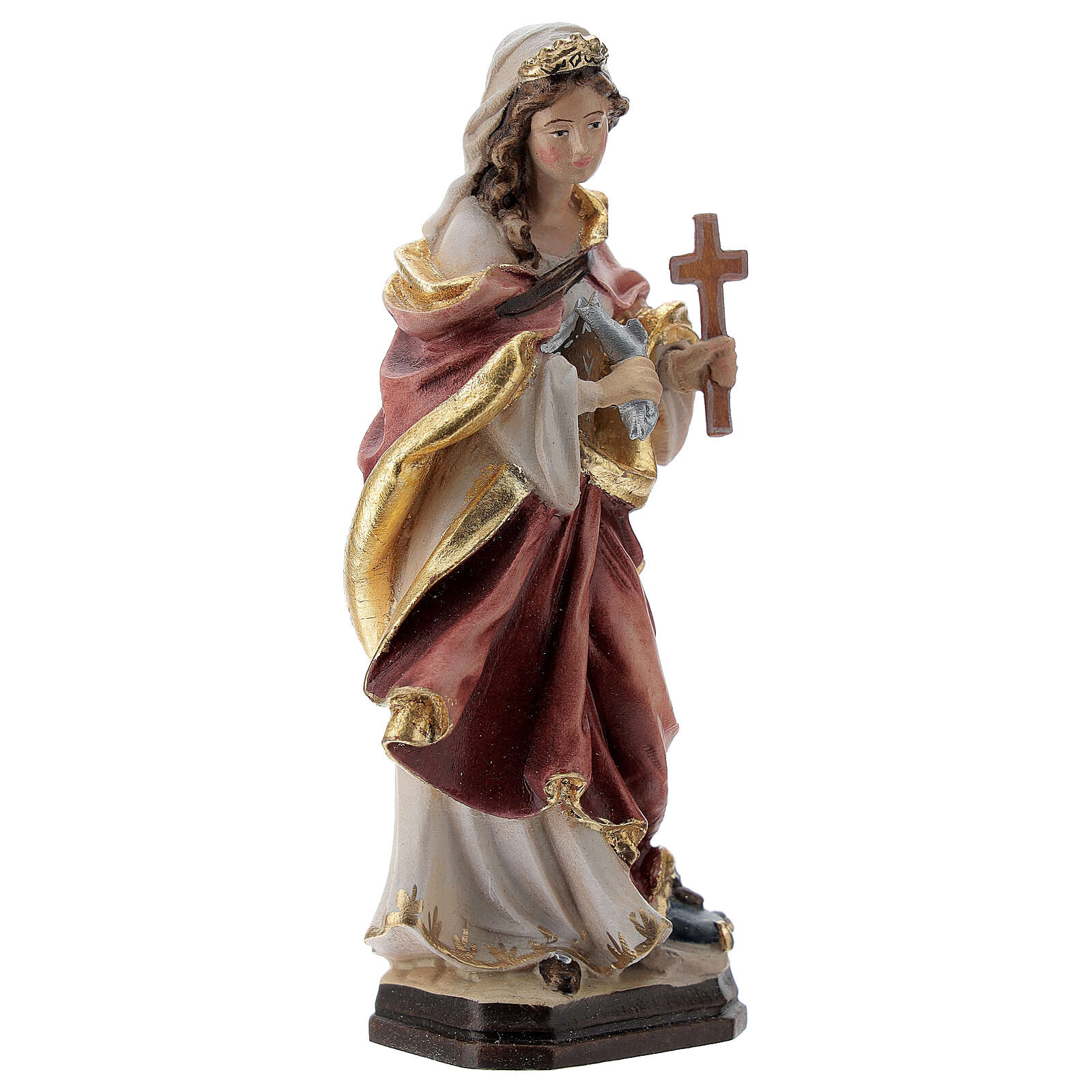 Saint Margaret painted wood statue, Val Gardena 4