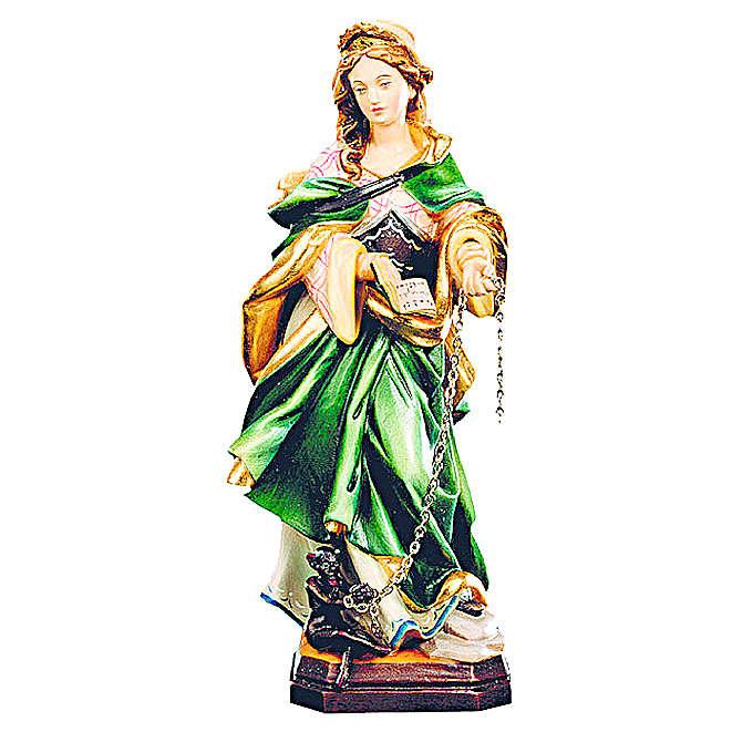 Santa Giuliana legno dipinto veste verde demonio incatenato 4