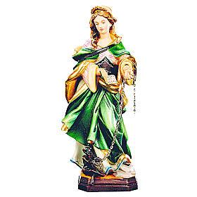 Santa Giuliana legno dipinto veste verde demonio incatenato s1