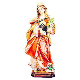 Statues en bois peint: Sainte Christine en bois peint avec fleurs jaune et blanche