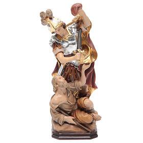 Statues en bois peint: Statue Saint Martin bois armure couleur argent manteau rouge