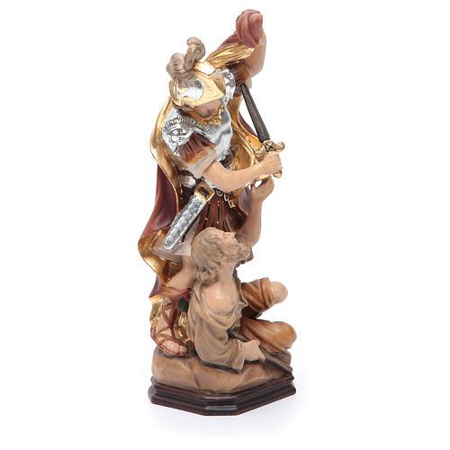 Statua San Martino legno armatura color argento mantello rosso 4