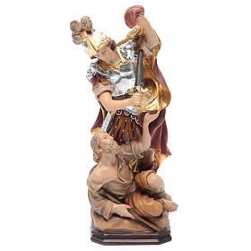 Hand painted wooden statues: Saint Martin statue in wood with silver armour and red cloak
