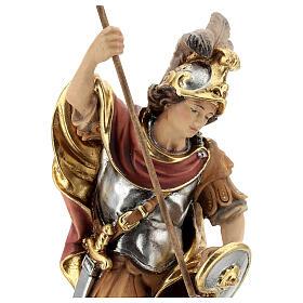 Estatua San Jorge de madera pintada que mata al dragón verde s2