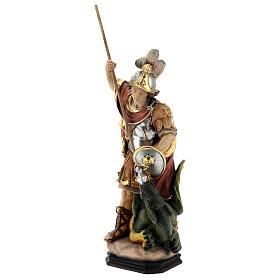 Estatua San Jorge de madera pintada que mata al dragón verde s3