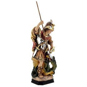 Estatua San Jorge de madera pintada que mata al dragón verde s5