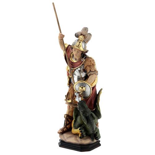 Estatua San Jorge de madera pintada que mata al dragón verde 3