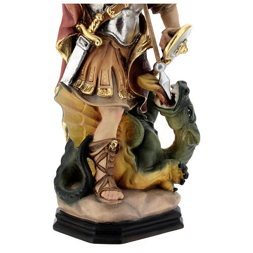 Estatua San Jorge de madera pintada que mata al dragón verde 4