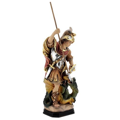 Estatua San Jorge de madera pintada que mata al dragón verde 5