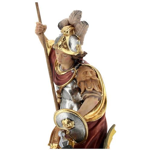 Estatua San Jorge de madera pintada que mata al dragón verde 6