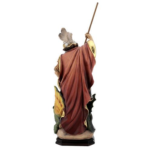 Estatua San Jorge de madera pintada que mata al dragón verde 7