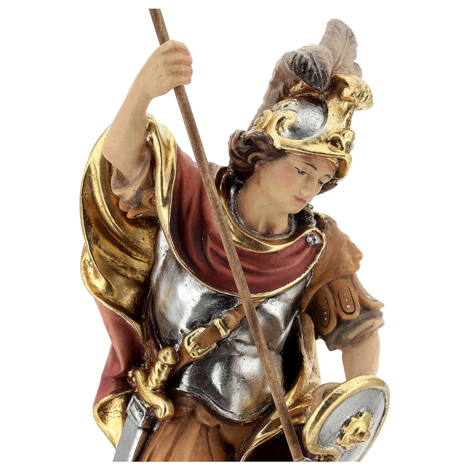 Statua di San Giorgio legno dipinto uccisione drago verde 4