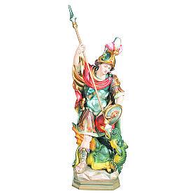 Statua di San Giorgio legno dipinto uccisione drago verde s1