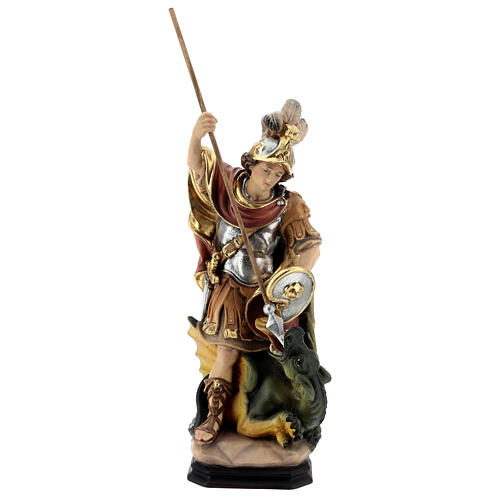 Saint George with the dragon painted wood statue, Val Gardena 1