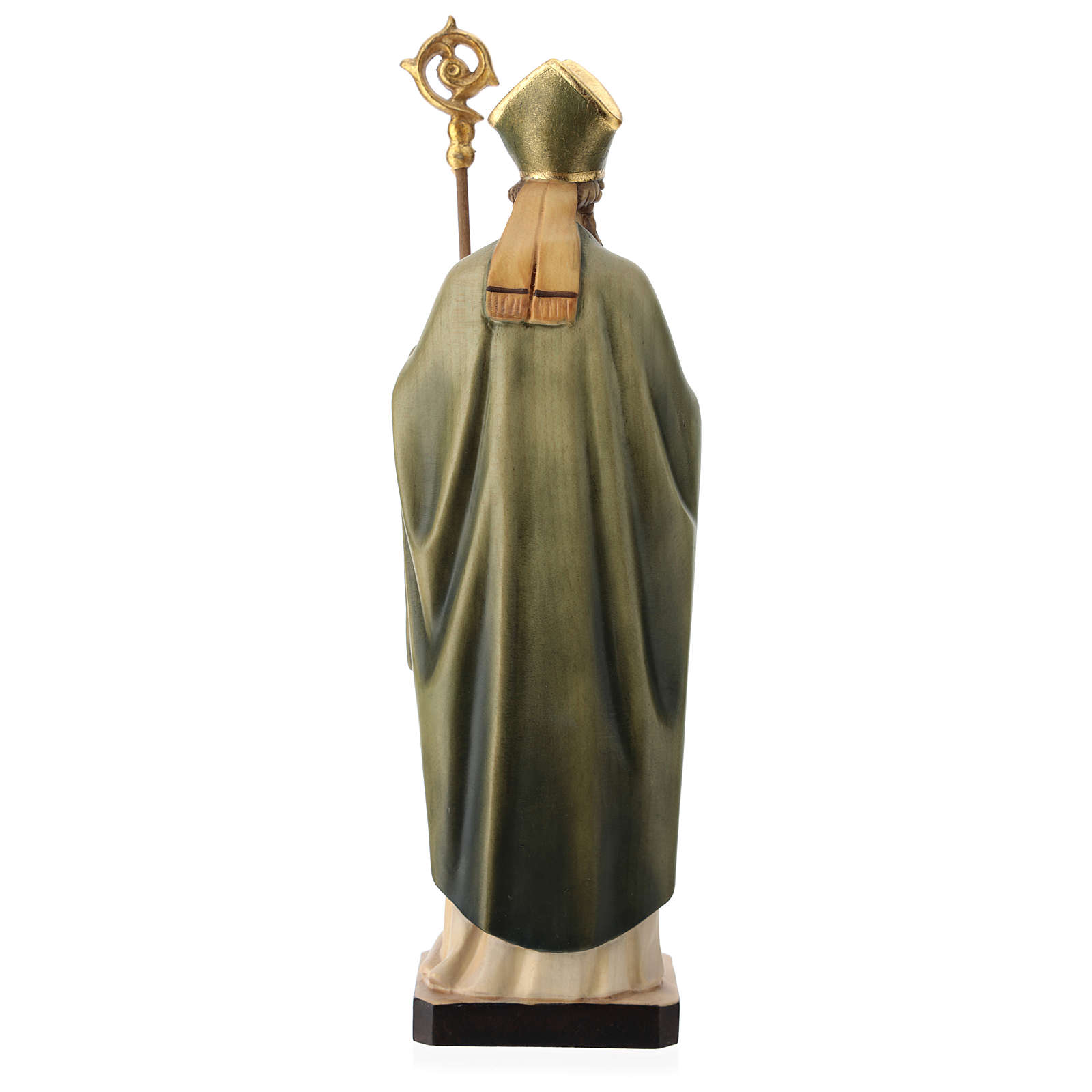 Saint Patrick with clover and green cape in painted wood, Val Gardena 4