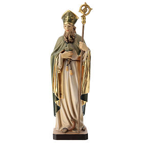 Saint Patrick with clover and green cape in painted wood, Val Gardena s1