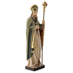 Saint Patrick with clover and green cape in painted wood, Val Gardena s4