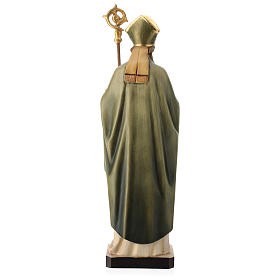 Saint Patrick with clover and green cape in painted wood, Val Gardena s5
