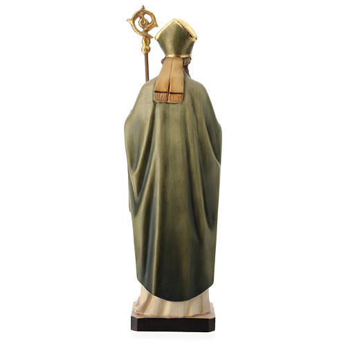 Saint Patrick with clover and green cape in painted wood, Val Gardena 5