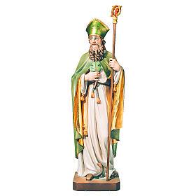 Statue de Saint Patrick en bois peint trèfle et manteau vert s1