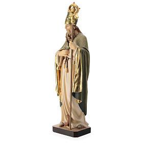 Statue de Saint Patrick en bois peint trèfle et manteau vert s3