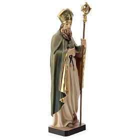Statue de Saint Patrick en bois peint trèfle et manteau vert s4