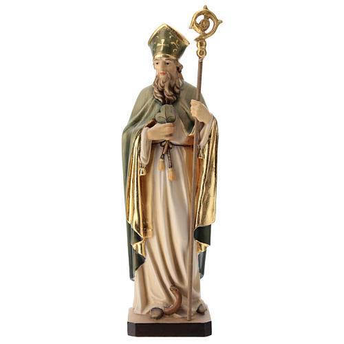 Statue de Saint Patrick en bois peint trèfle et manteau vert 1