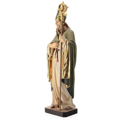 Statue de Saint Patrick en bois peint trèfle et manteau vert 3