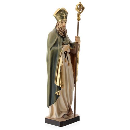 Statue de Saint Patrick en bois peint trèfle et manteau vert 4