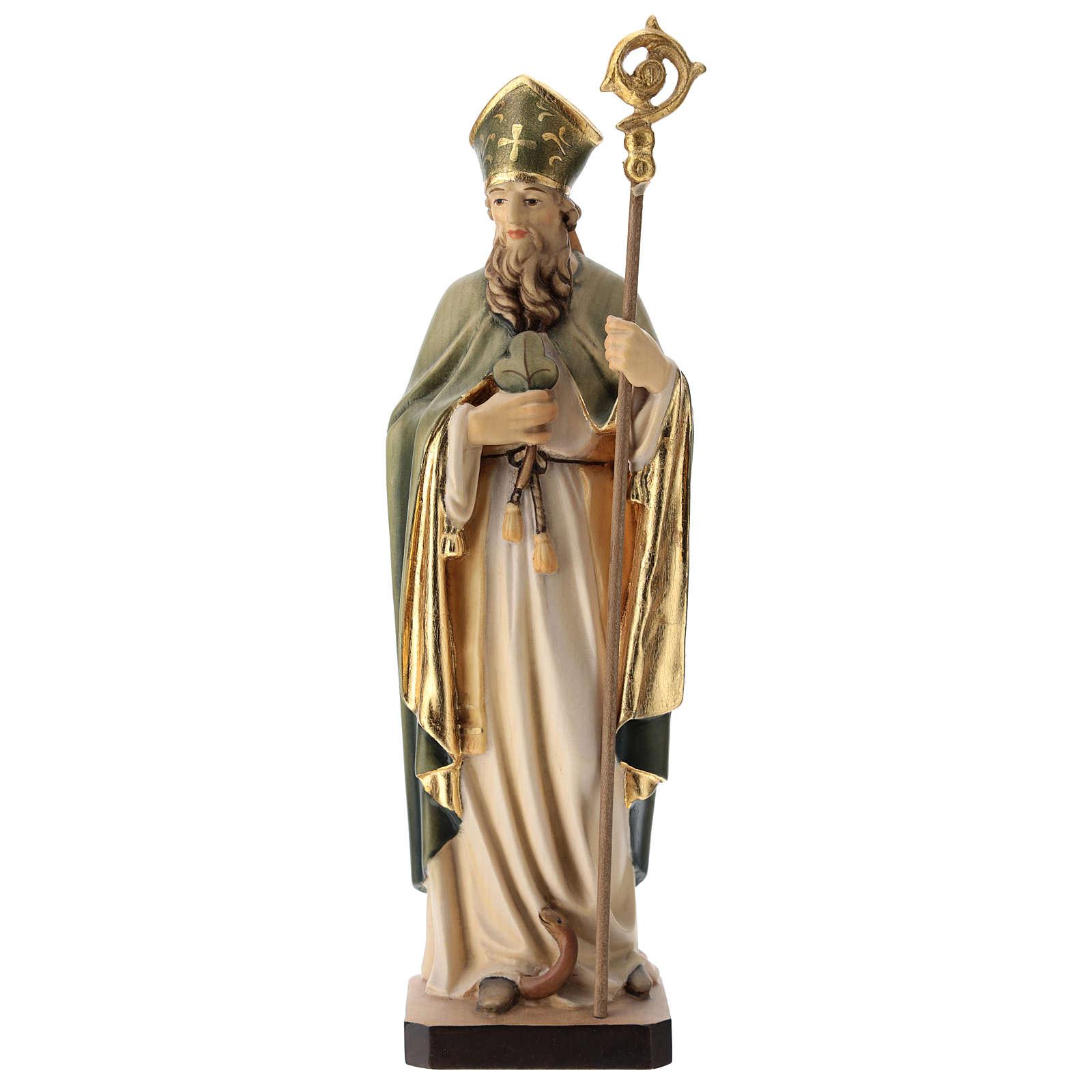 San Patrizio in legno dipinto trifoglio e mantello verde 4