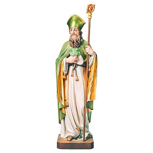 San Patrizio in legno dipinto trifoglio e mantello verde 1