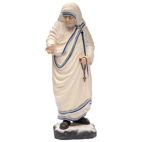 Statues en bois peint: Mère Teresa de Calcutta en bois peint Valgardena chapelet