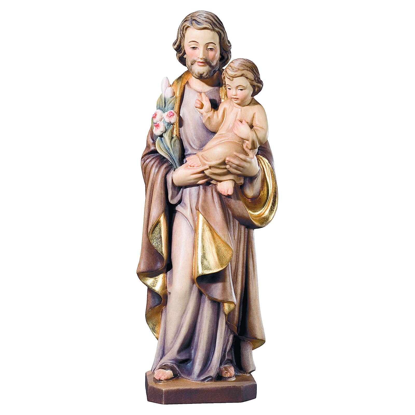 Estatua San José y Niño madera pintada flores blancas rojas 4