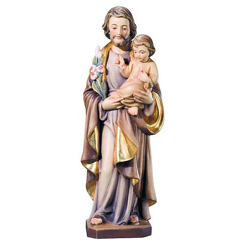 Estatua San José y Niño madera pintada flores blancas rojas 1